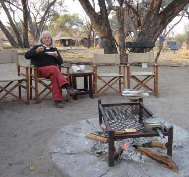 Josie enjoying breakfast at the common fire