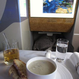 Emirates Business Class with Clam Chower over Iceland
