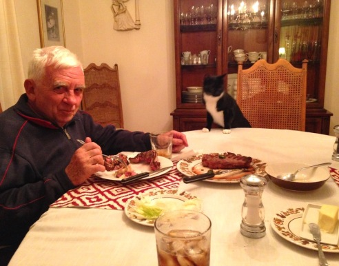Billysky cat at dinner table 2