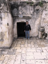 me in an Old City Jerusalem courtyard perhaps typical of where Pilate questioned Jesus