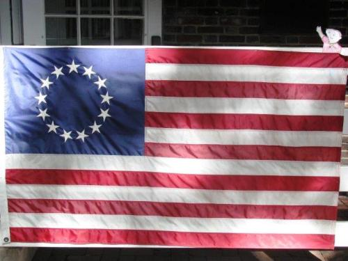 Flat Stanely with the Betsey Ross designed flag