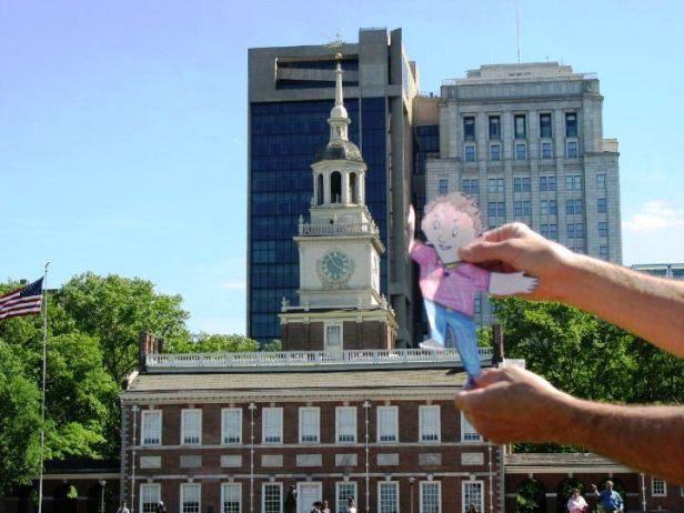 Flat stanley stands on independence hall