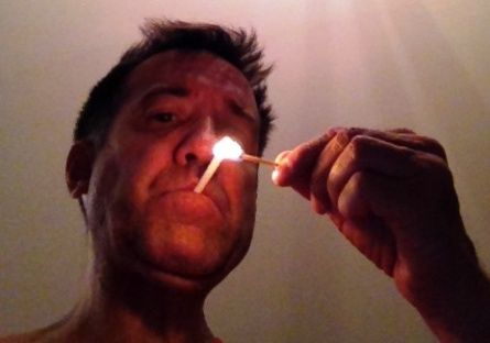 Lighting a candy cigarette