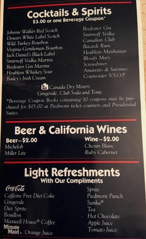 piedmont airlines menu
