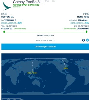 Cathay Pacific Flight Aware