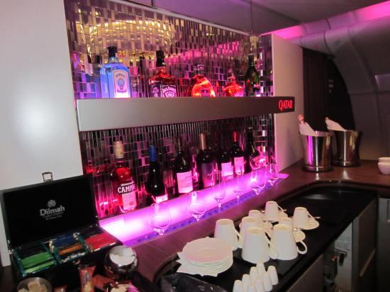 Qatar a380 bar bottles