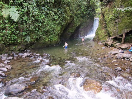 Swimming at Mindo Cascades
