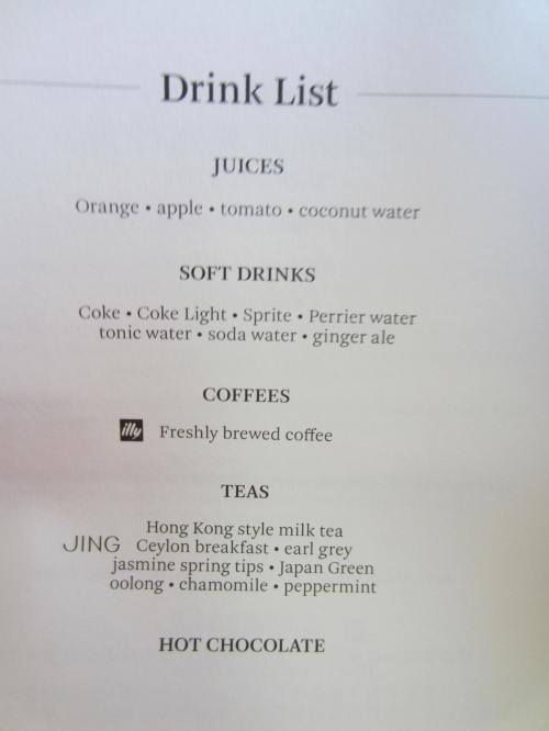 Cathay Pacific Drink Menu